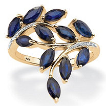 2 5/8 TCW Marquise-Cut Genuine Midnight Blue Sapphire 18k Gold over Sterling Silver Ring