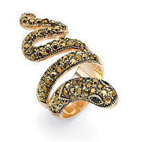 Round Brown and Black Crystal 14k Yellow Gold-Plated Coiled Snake Ring