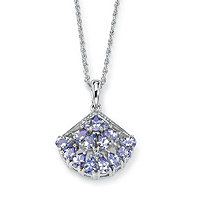 1.62 CT TW Tanzanite and Diamond Accent Fan-Shaped Pendant and Chain in Platinum over Sterling Silver
