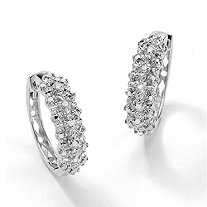 1/10 TCW Round Ice Diamond Platinum over Sterling Silver Huggie-Hoop Earrings
