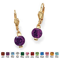 Round Birthstone Drop Pierced Earrings in 18k Gold-Plated