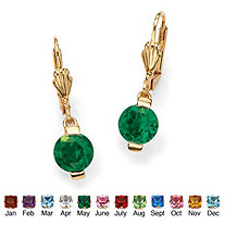 Round Birthstone Drop Pierced Earrings in 18k Gold-Plated