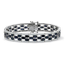 20.65 TCW Oval-Cut Genuine Midnight Blue Sapphire Platinum Over Sterling Silver Bracelet 7 1/4
