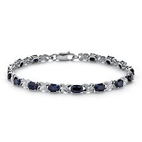 "8.43 TCW Genuine Midnight Blue Sapphire Platinum over Sterling Silver ""X & O"" Bracelet"