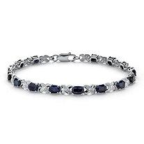 8.43 TCW Genuine Midnight Blue Sapphire Platinum over Sterling Silver