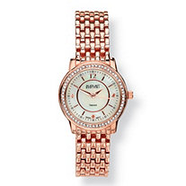 "Diamond Accent and Mother-of-Pearl Rose Gold-Plated Panther-Link Watch Adjustable 7 1/2"" to 8 1/2"""