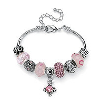 Round Pink Crystal Silvertone Metal Bali-Style Beaded Charm and Spacer Bracelet 8""