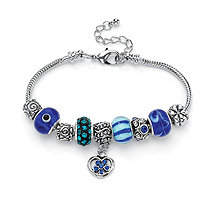 Blue Crystal Silvertone Bali-Style Beaded Charm and Spacer Bracelet 8""
