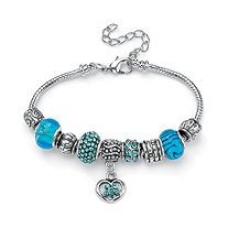 Aqua Crystal Bali-Style Beaded Charm and Spacer Bracelet in Silvertone 8""