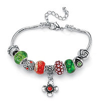 Multi-Color Crystal Silvertone Bali-Style Beaded Charm and Spacer Bracelet 8""