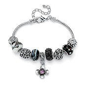 "Black and Purple Crystal Silvertone Metal Bali-Style Charm and Spacer Bracelet Adjustable 8"" to 10"""