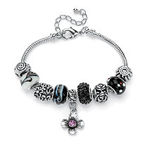 Black and Purple Crystal Silvertone Bali-Style Charm and Spacer Bracelet Adjustable 8
