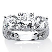 3.60 TCW Round Cubic Zirconia Platinum over Sterling Silver 3-Stone Bridal Engagement Ring