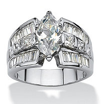 7.87 TCW Marquise-Cut Cubic Zirconia Platinum-Plated Engagement Anniversary Ring