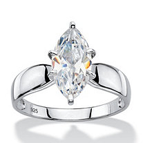 2.48 TCW Marquise-Cut Cubic Zirconia Platinum over Sterling Silver Solitaire Bridal Engagement Ring