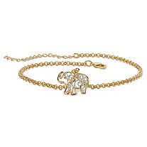 Filigree Elephant Ankle Bracelet in Tutone 18k Gold-Plated