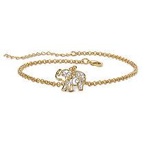 Filigree Elephant Ankle Bracelet in Tutone 18k Gold-Plated