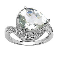 2.97 CT TW Green Amethyst and White Topaz Ring in Sterling Silver