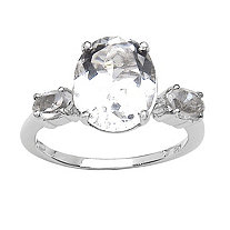 3.61 CT TW Oval-Cut White Quartz Ring in Sterling Silver