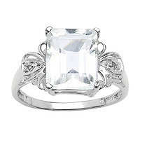 3.26 CT TW White Quartz and White Topaz Ring in Sterling Silver
