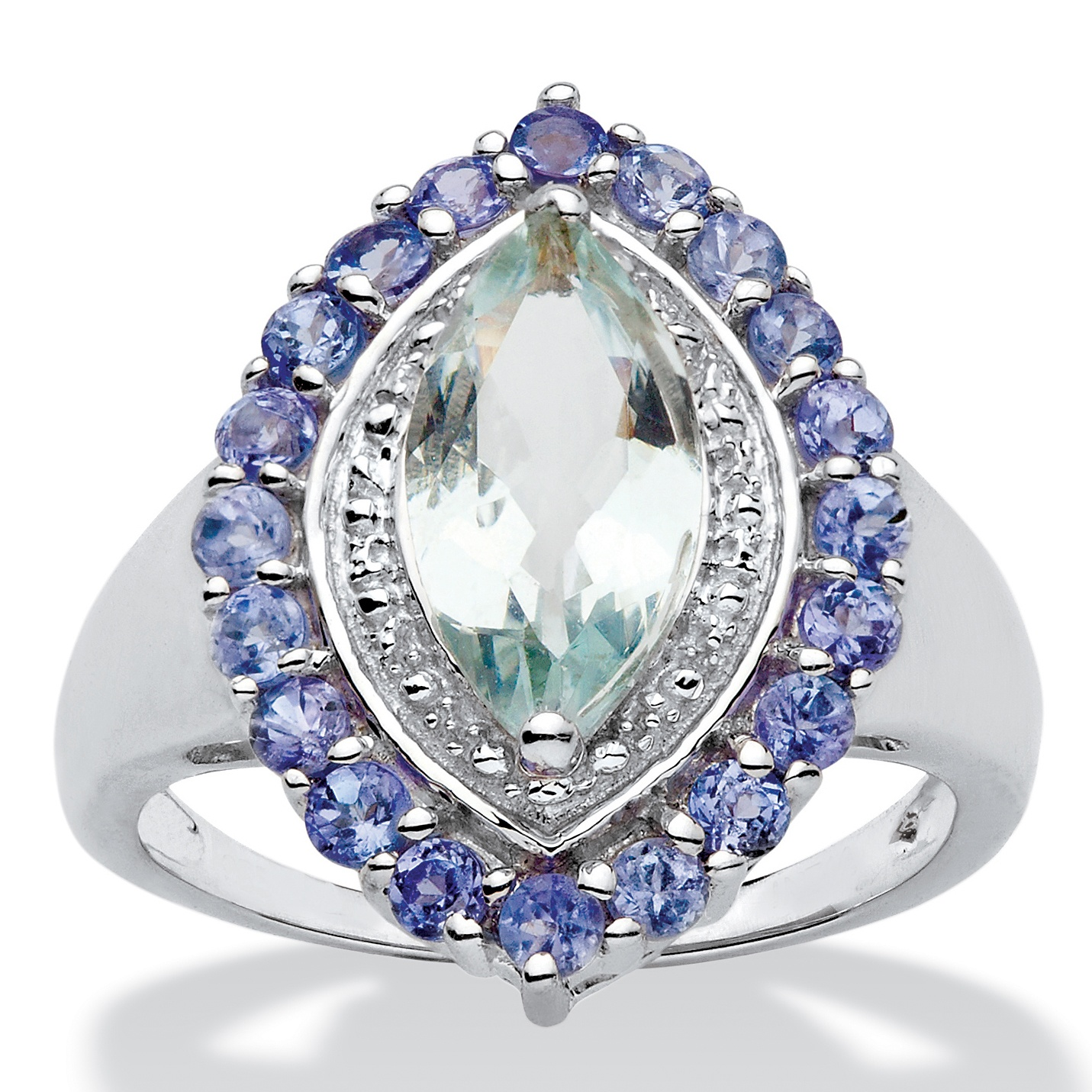PalmBeach Jewelry 2.45 TCW Marquise-Cut Genuine Aquamarine and Tanzanite Halo Ring in Sterling Silver