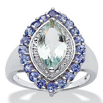 2.45 CT TW Aquamarine and Tanzanite Ring in Sterling Silver