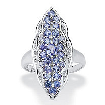 1.09 TCW Tanzanite and White Topaz Ring in Sterling Silver