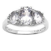1.97 CT TW White Quartz and White Topaz Ring in Sterling Silver