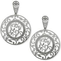 Openwork Leaf Drop Pierced Earrings in Stainless Steel