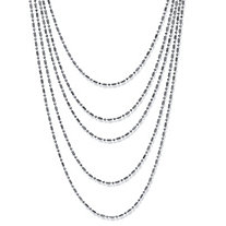 Silvertone Multi-Chain Beaded Waterfall Necklace 36""