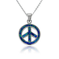 Blue Lab-Created Opal Peace Sign Pendant and Chain in Sterling Silver