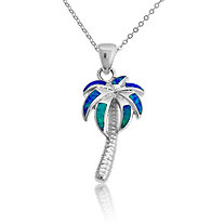 Blue Lab-Created Opal Palm Tree Pendant and Chain in Sterling Silver