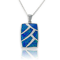 Blue Lab-Created Opal Inlaid Rectangular Pendant and Chain in Sterling Silver