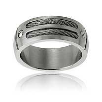 Men's Cable and Nail-Head Band Ring in Stainless Steel
