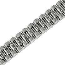 Men's 1.31 CT TW DiamonUltra™ Cubic Zirconia Barrel-Link Bracelet in Stainless Steel