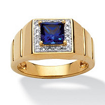 Men's 1-Carat Square-Cut Blue Lab Created Sapphire 18k Yellow Gold Over Sterling Silver Ring