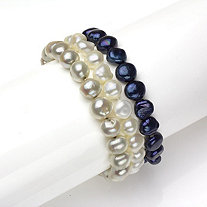 Set of Three Cultured Freshwater Pearl Stretch Bracelets in Blue, White and Grey