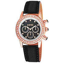 August Steiner Crystal Bezel and Marker Watch Black in Rosetone