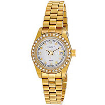 Akribos XXIV Diamond Accent and Crystal Bezel Bracelet-Watch in 14k Gold-Plated
