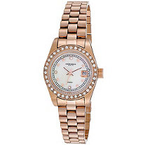 Akribos XXIV Diamond Accent and Crystal Bezel Bracelet-Watch in 14k Rose Gold-Plated