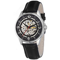 Men's Akribos XXIV Black Saturnos Skeleton Watch in Silvertone