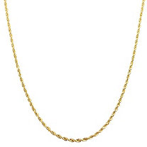 """Rope Chain in 10k Gold 20"""" 1.3 mm Width"""
