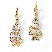 18k Yellow Gold-Plated Two-Tone Filigree Cat Drop Earrings