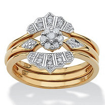 .15 TCW Round Diamond 18k Gold over Sterling Silver Bridal Engagement Crown Ring Set