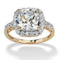 3.20 TCW Cushion Princess-Cut Cubic Zirconia 10k Yellow Gold Engagement Anniversary Ring