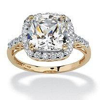 3.20 TCW Cushion Princess-Cut Cubic Zirconia 10k Yellow Gold Engagement Anniversary Ring
