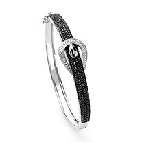1/4 TCW Round-Cut Black Diamond Silvertone Bangle Bracelet 7 1/4""