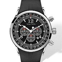 Men's Nautica Chronograph Tachymeter Watch in Silvertone