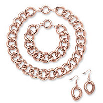 3 Piece Curb-Link Necklace, Bracelet and Drop Earrings Set Rose Gold-Plated