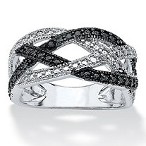 Black Diamond Accent Pave Weave Ring in Sterling Silver and Black Ruthenium Finish